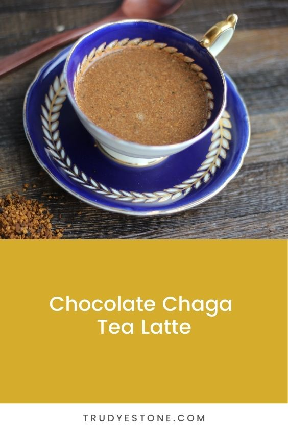 This Chocolate Chaga Tea Latte is perfect for stress relief