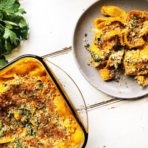 This ooey gooey pumpkin mac and cheese is a healthier twist on a classic comfort!