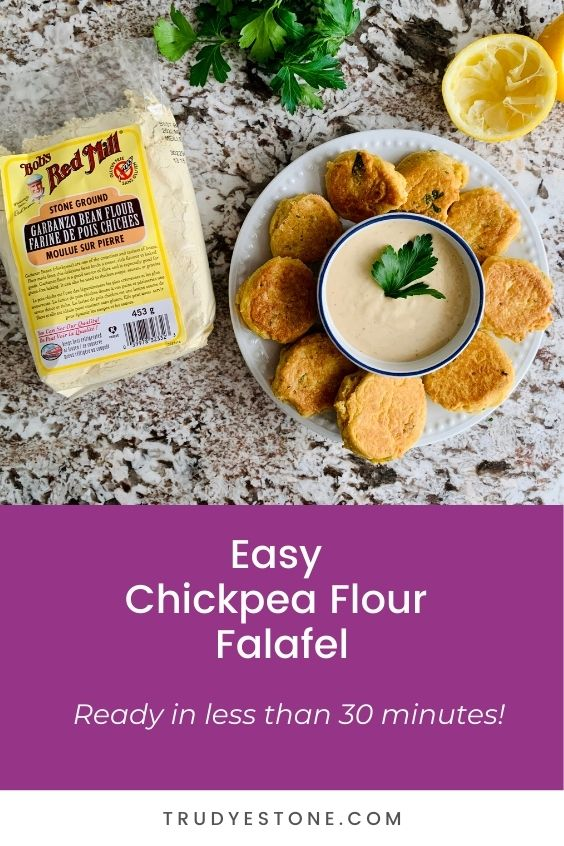 This easy chickpea flour falafel recipe is crispy and golden, and will have dinner on the table in less than 30 minutes!