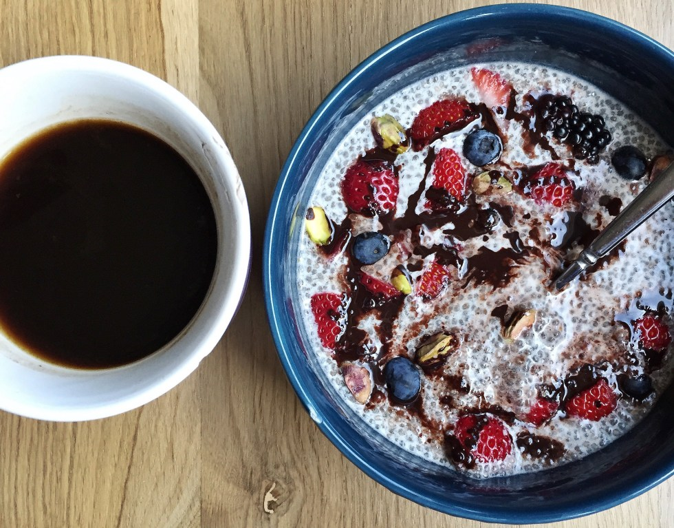 Chocolate Covered berry chia bowl