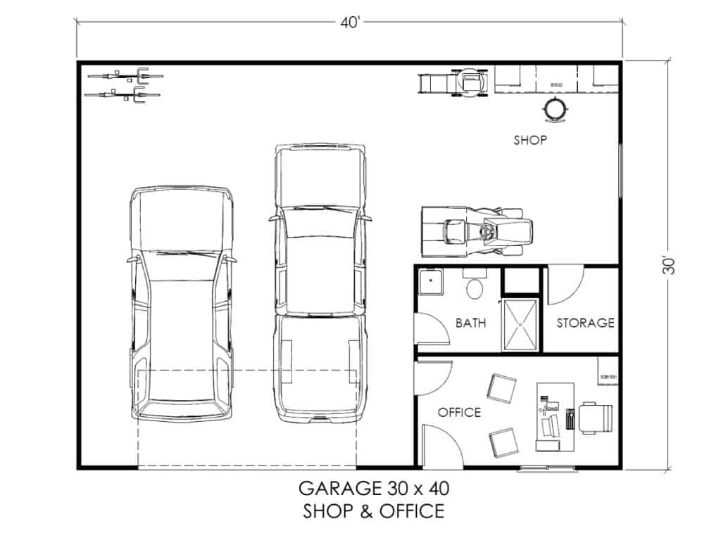 Garage W/office And Workspace