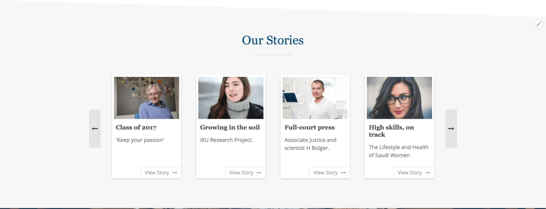 OpenEDU. Our Stories content reference block.