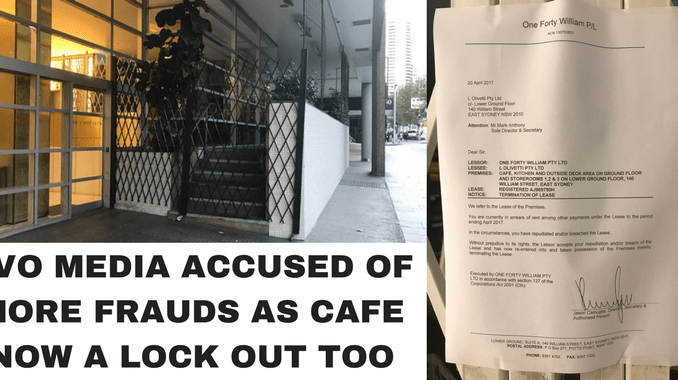 WEB OF LIES! Evo Media caught out with owners now locked out of cafe as debt collectors & authorities come calling