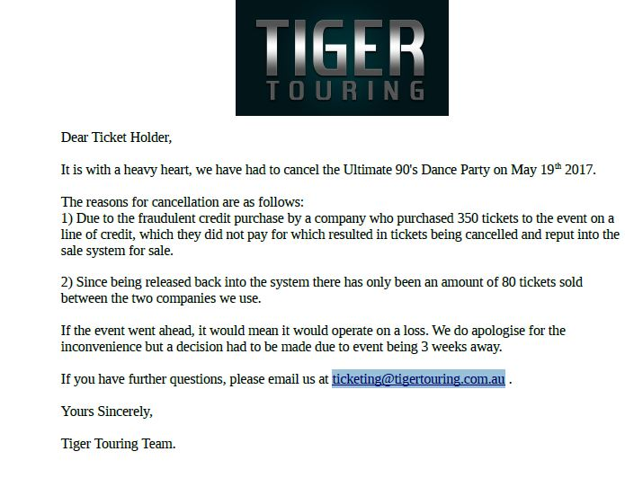 TigerTouringCancelsEventBecauseOfFraud