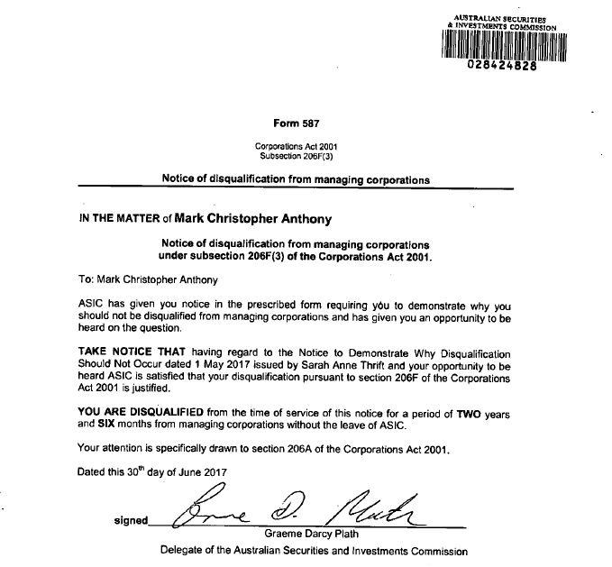 ASIC Notice banning Mark Anthony 1
