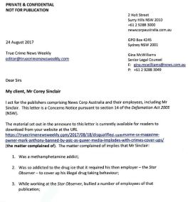 News Corp Legal Threats for Corey Sinclair_1