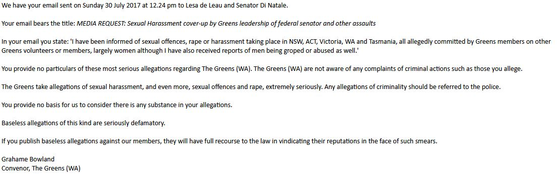 Threats from The Greens