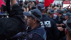 Police pushing protestors back