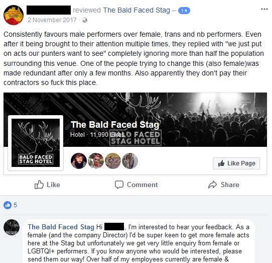 Complaints about Payment in November 2017 Bald Faced Stag Hotel