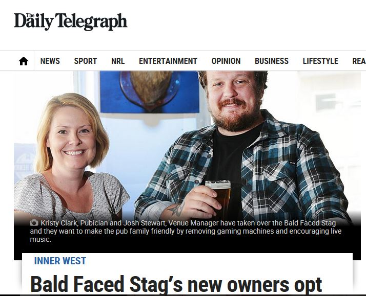 Inner West Courier Story on Pokie free Bald Faced Stag
