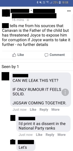 Rumours about Canavan on Facebook_Blackout