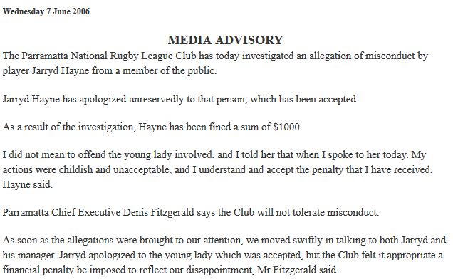 2006 Media Advisory about Jarryd Hayne biting woman