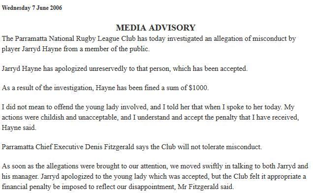 2006 Media Advisory about Jarryd Hayne biting woman