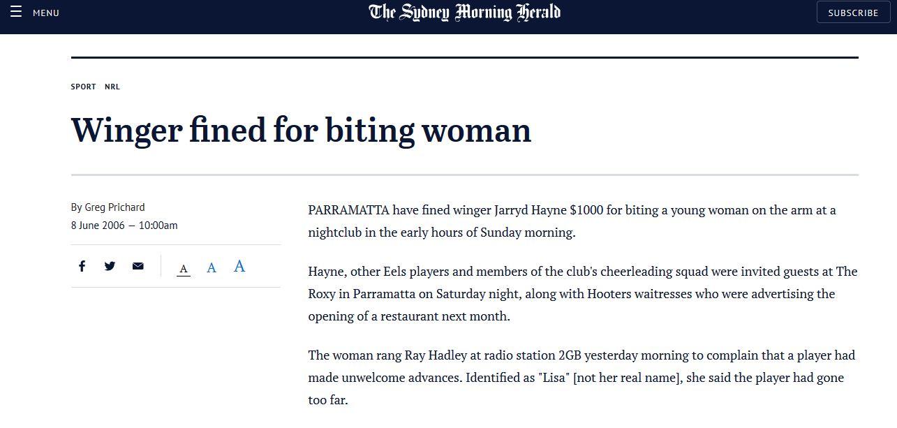 Jarryd Hayne bites 18 yr old girl in 2006 SMH Story