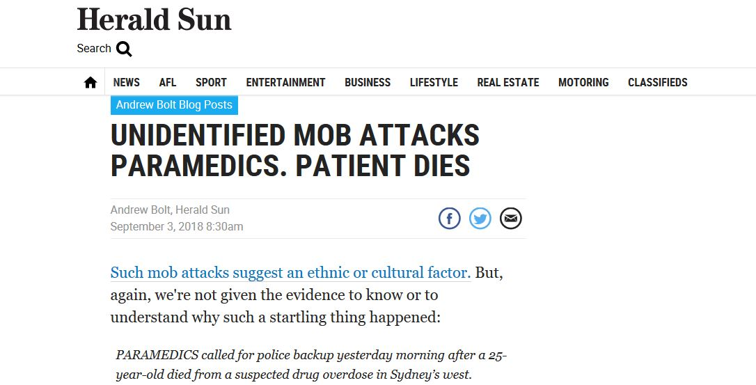 Andrew Bolt uses incident to make ethnic comment