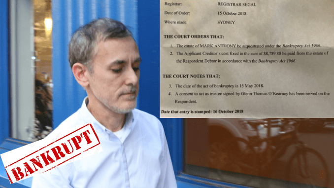 BANNED, LIQUIDATED & NOW BANKRUPTED! Disgraced gay media capo Mark Christopher Anthony falls foul of Federal Court while moonlighting as 'fake lawyer'