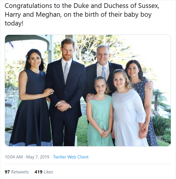 'WHITE POWER' ROYAL RACIST SCANDAL! PM Scott Morrison silent on claims wife Jennifer flashed White Supremacist hand signal in photo with Prince Harry & Meghan Markle