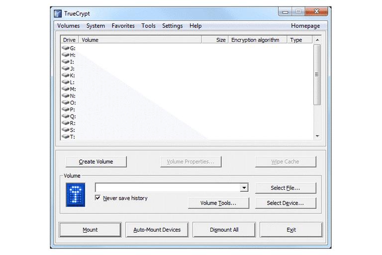 écran de choix de cryptage des différnetes partitions