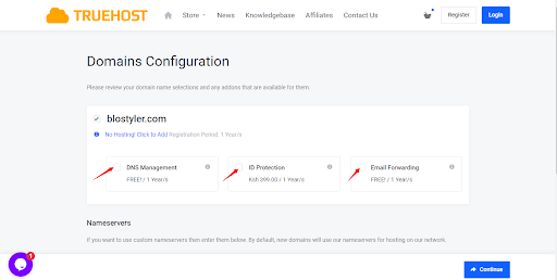 Truehost domain configuration
