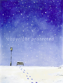 winter landscape painting as christmas card design