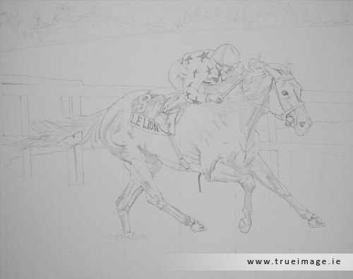 horse and jockey portrait in pencil - progress image 1