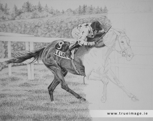 horse and jockey portrait in pencil - progress image 4
