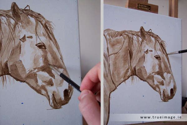 Horse portrait painting in acrylic - progress image 1