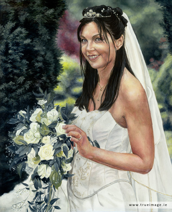 Bride portrait in acrylic on canvas