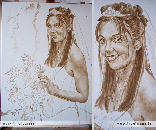 Bride portrait in progress - step 2