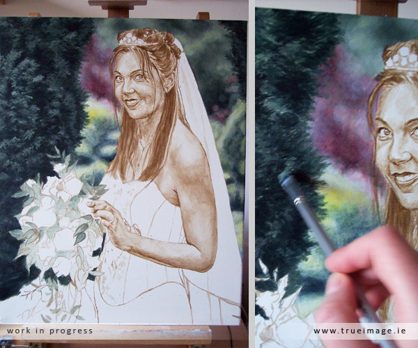 Bride portrait in progress - step 3
