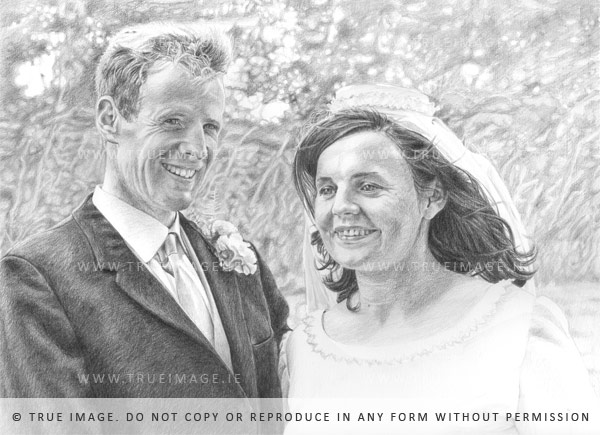 wedding portrait in pencil on paper