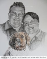 family portrait with cocker spaniel - work in progress