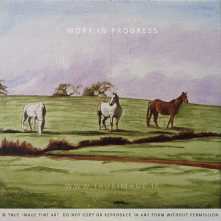 horses in a field wip 3