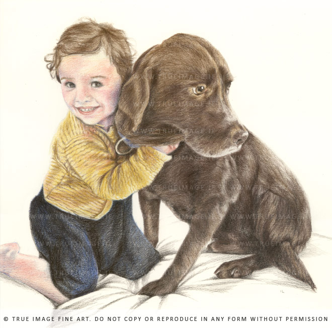 girl and labrador portrait drawing