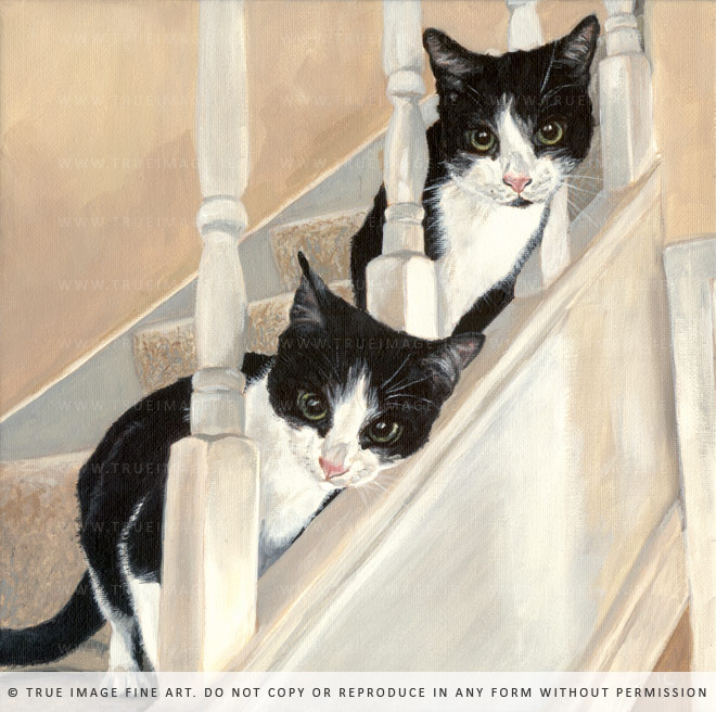 two cats on the stairs - cat portrait painting in acrylic on canvas