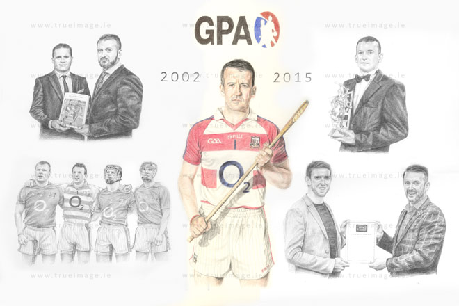 Montage portrait in graphite pencil hurling player