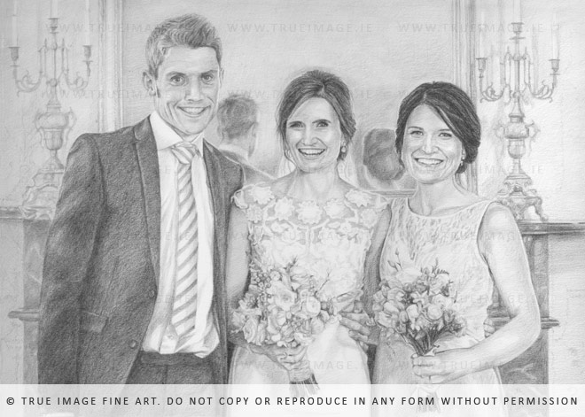 wedding portrait drawing of three siblings