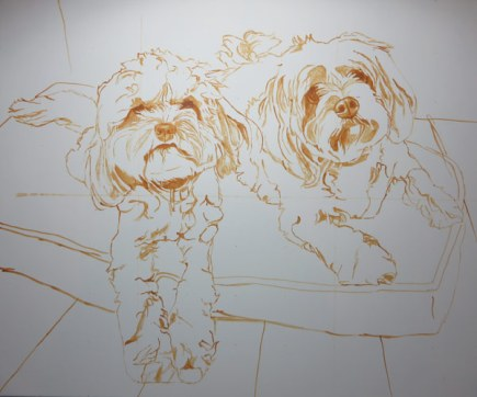 dog painting sketch