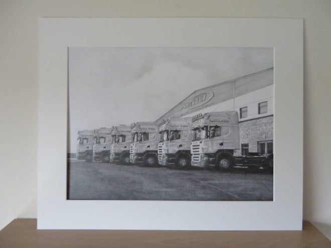 pencil drawing of trucks in a mount