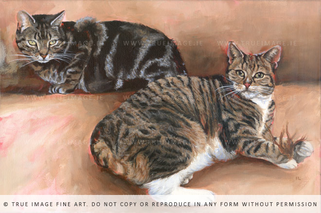 black and brown cat painting