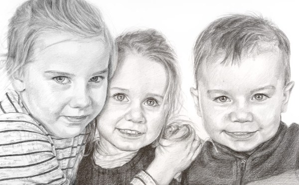 three children drawing