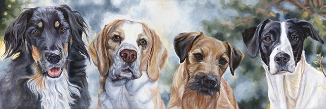 four dogs painting