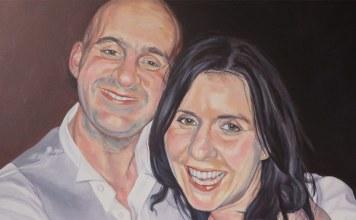 acrylic portrait of a couple