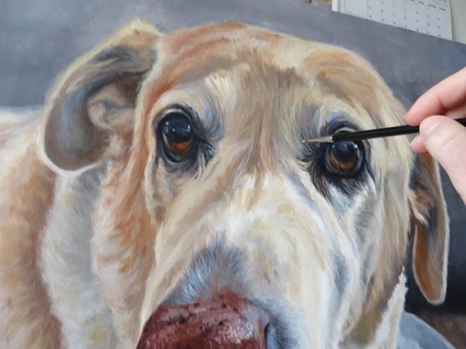 progress of labrador painting