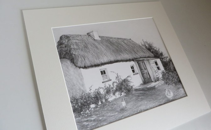mounted cottage drawing