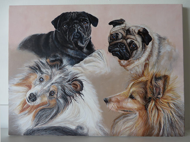 four dogs portrait