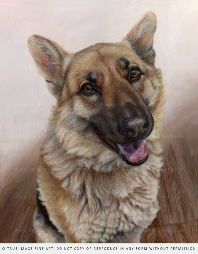 An acrylic painting of a german shepherd