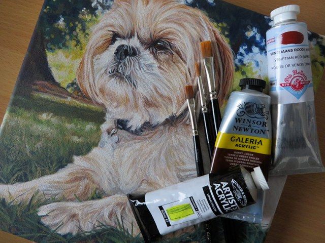 dog painting with materials