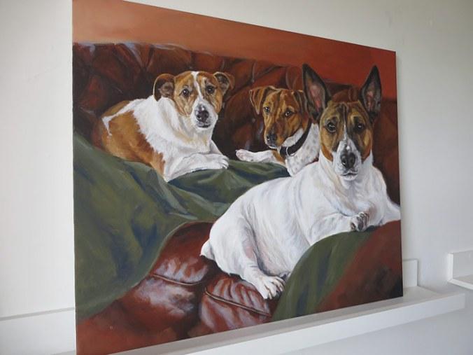 Portrait canvas on a shelf