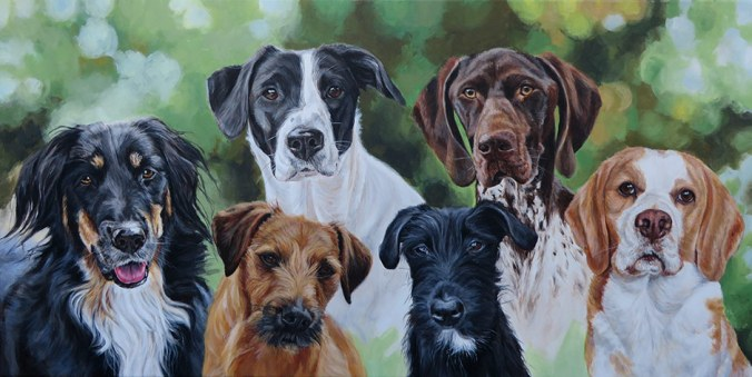 portrait painting of six dogs on canvas